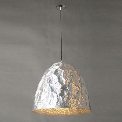 Pendente Brass Oval 1/2 Vertical Metal Cromado 55x60cm Bella Iluminação 1 E27 Bivolt JY008C Entradas e Mesas