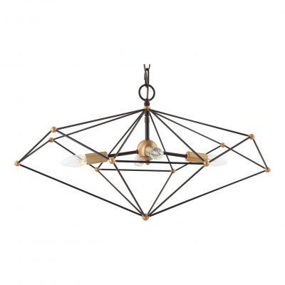 Pendente Axis Aramado Horizontal Metal Bronze 38x40cm Bella Iluminação 4 E14 40W Bivolt KF003L Entradas e Hall