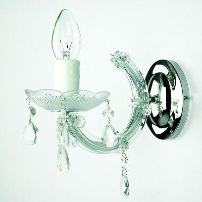 Arandela Marchesa Vela Metal Vidro Acrílico Transparente 21x24cm Bella Iluminação KH1061 1 E14 Corredores e Hall