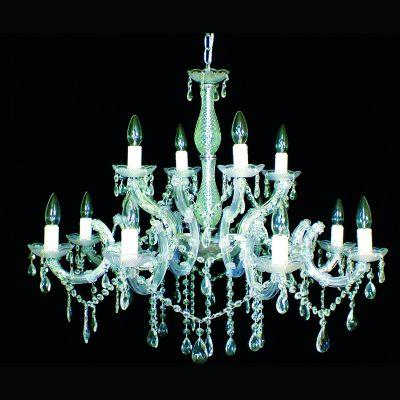 Lustre Candelabro Duchessa 12 Braços Vidro Acrílico 75x85cm Bella Iluminação 12 E14 Bivolt KH10612 Entradas e Hall