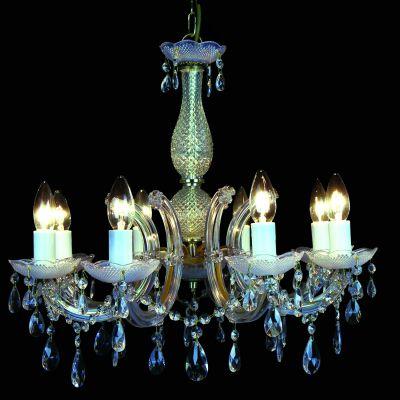 Lustre Candelabro Duchessa 8 Braços Vidro Transparente 56x56cm Bella Iluminação 8 E14 Bivolt KH1068 Entradas e Hall