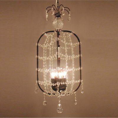 Lustre Vertical Metal Cobre Cristal Transparente 74x22cm Bella Iluminação 4 E14 Bivolt KH1084 Salas e Entradas