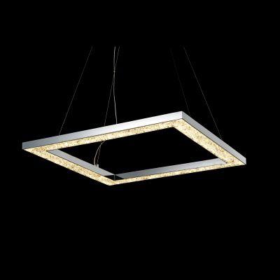 Pendente Cristal Vidro Quadrado Metal Cromado 70x70cm Bella Iluminação LED 60W KL006L Entradas e Corredores