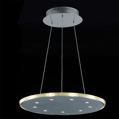 Pendente Disco Vidro Transparente Aço Cromado Redondo Ø46cm Bella Iluminação 9 LED 3W KL017L Cozinhas e Salas