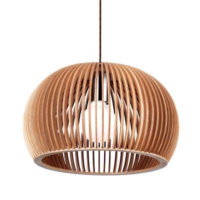 Pendente Wood Madeira 1/2 Esfera Aço Cromado Bege 28x45cm Bella Iluminação 1 E27 Bivolt LB003 Balcões e Cozinhas