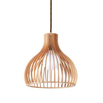 Pendente Wood Madeira Sino Aço Cromado Bege 22x22cm Bella Iluminação 1 E27 Bivolt LB004 Cozinhas e Balcões