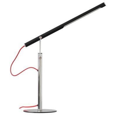 Luminária Mesa Tubular Aço Direcionável Cromado Preto 46x20cm Bella Iluminação LED 7W LM005 Mesas e Balcões