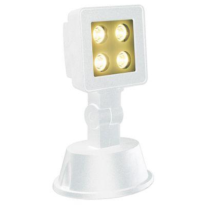 Luminaria Projetora Solo LED Alumínio Branco 21,5x14cm Bella Iluminação 1 LED 4W Bivolt LX1133W Salas e Quartos