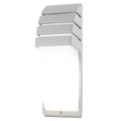 Arandela Externa Abi Policarbonato Alumínio Branco 35x12cm Bella Iluminação 1 E27 Bivolt LX5341W Muros e Jardins