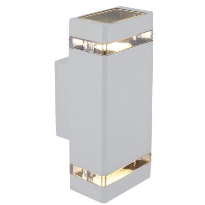 Arandela Externa Trace Alumínio Branco 26,5x10,5cm Bella Iluminação 2 GU10 Dicróica LX7192W Entradas e Muros