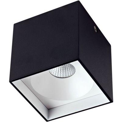 Spot Sobrepor Cubico Alumínio Preto Branco Ø8cm Bella Iluminação 1 LED 4W 220V LZ043B Escritórios e Cozinhas