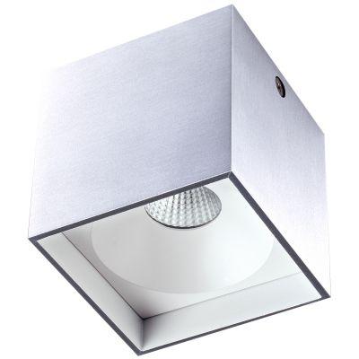 Spot Sobrepor Kube Cubico Alumínio Cinza Branco Ø8cm Bella Iluminação 1 LED 4W 220V LZ044B Escritórios e Cozinhas