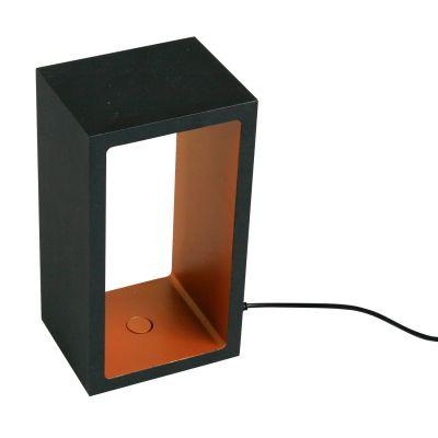 Luminária de Mesa Kube Alumínio Retangular Preto Ouro 18,2x10cm Bella Iluminação LED 5W LZ051B Mesas e Balcões