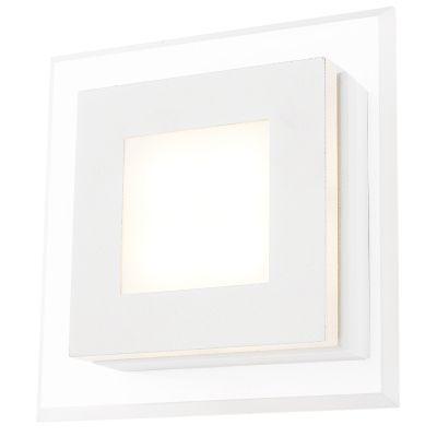 Arandela Pip Quadrada Metal Acrílico Branco 5,5x17,5cm Bella Iluminação 1 LED 4W Bivolt MG007B Quartos e Salas