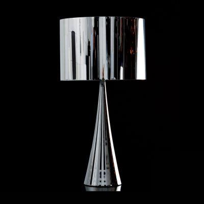 Abajur Acetato Metal Cromado Cupula Redonda 66x35cm Bella Iluminação 1 E27 Bivolt MH0703C Cabeceiras e Mesas