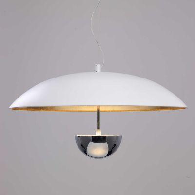 Pendente Brolly Prato Metal Branco Dourado Ø43cm Bella Iluminação 1 LED 12W Bivolt MN002 Entradas e Corredores