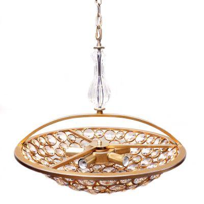 Pendente Champ Metal Ouro Velho Vidro Cristal 42x53cm Bella Iluminação 5 E14 40W Bivolt MR001S Salas e Mesas