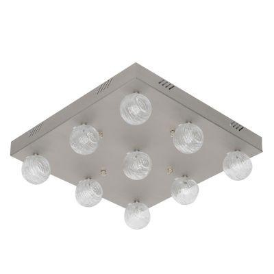 Plafon Escovado Alumínio Cristal Transparente 12x45cm Bella Iluminação 9 G4 Bi-pino NL1659A Entradas e Corredores