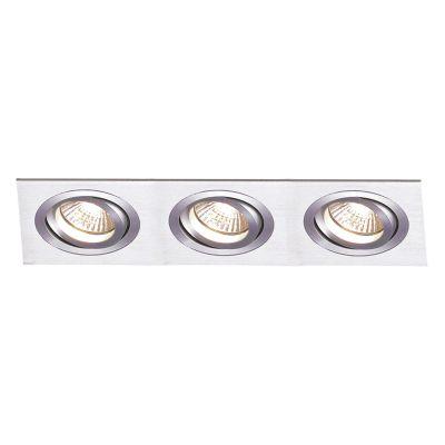 Spot Embutido Ecco Ret Triplo Alumínio Escovado 5x22cm Bella Iluminação 3 Minidicróica Bivolt NS5103A Salas e Hall