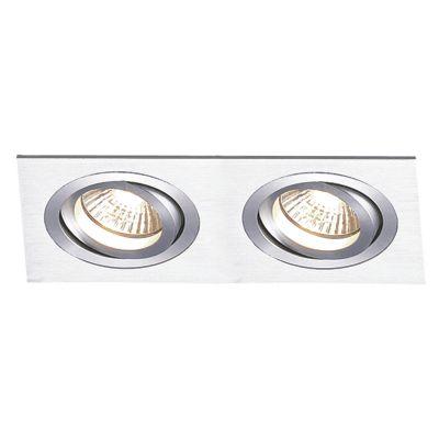 Spot Embutido Ecco Ret Duplo Alumínio Escovado 6,5x34cm Bella Iluminação 2 AR111 Bivolt NS5112A Salas e Quartos