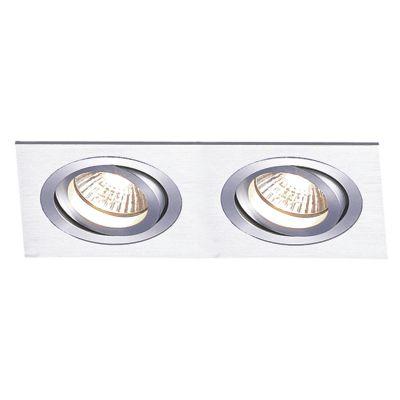 Spot Embutido Ecco Ret Duplo Alumínio Escovado 12x24cm Bella Iluminação 2 PAR20 Bivolt NS5202A Entradas e Quartos