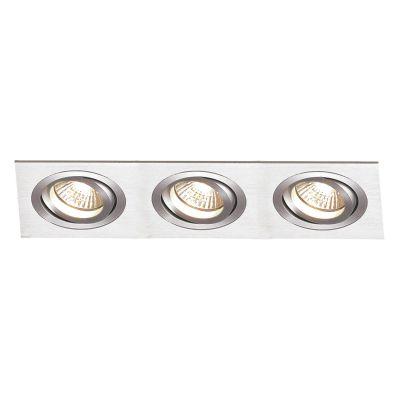 Spot Embutido Ecco Ret Triplo Alumínio Escovado 12x36cm Bella Iluminação 3 E27 PAR20 Bivolt NS5203A Salas e Hall