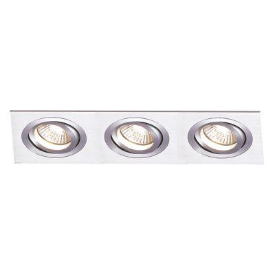 Spot Embutido Ecco Ret Triplo Alumínio Escovado 12x31cm Bella Iluminação 3 PAR30 Bivolt NS5303A Salas e Quartos