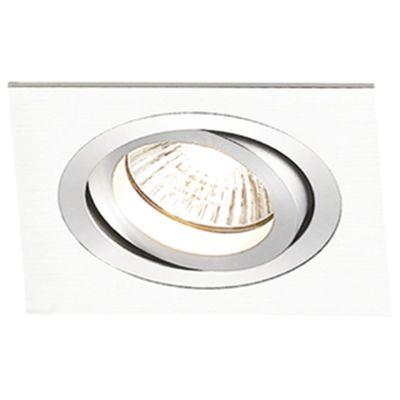 Spot Embutido Ecco Quad Alumínio Branco 5,8x9,2cm Bella Iluminação 1 GU10 Dicróica Bivolt NS5601B Salas e Hall