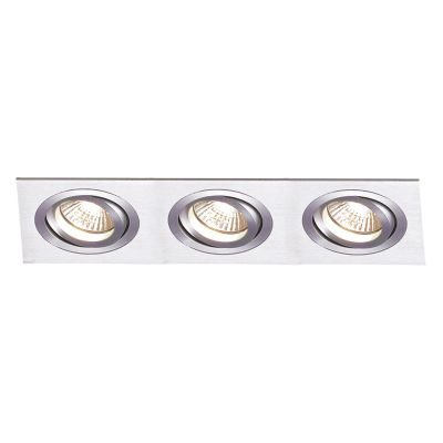 Spot Embutido Ecco Ret Triplo Alumínio 5x22,2cm Bella Iluminação 3 GU10 Minidicróica NS5603A Entradas e Salas