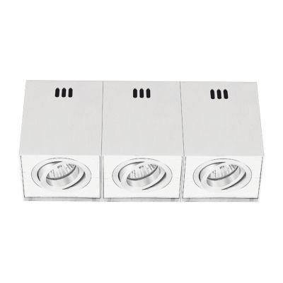 Spot Sobrepor Kube Triplo Alumínio Branco 10,5x29cm Bella Iluminação 3 GU10 Dicróica Bivolt NS563B Salas e Mesas
