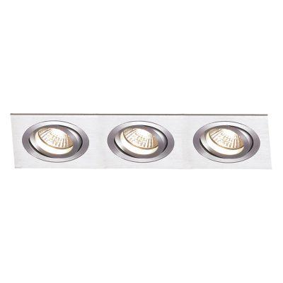 Spot Embutido Ecco Ret Triplo Alumínio Escovado 8x36cm Bella Iluminação 3 AR70 Bivolt NS5703A Entradas e Salas