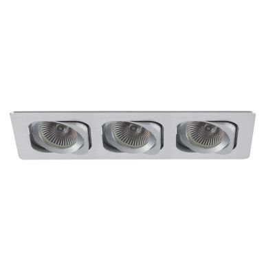Spot Embutido Monet Ret Alumínio Triplo 5,7x25,5cm Bella Iluminação 3 GU10 Dicróica Bivolt NS6003B Cozinhas e Salas