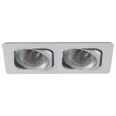 Spot Embutido Ret Monet Duplo Alumínio Escovado 11,5x24cm Bella Iluminação 2 PAR20 Bivolt NS6202A Cozinhas e Salas