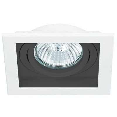 Spot Embutido Conecta Quad Alumínio Branco Preto 16x18,2cm Bella Iluminação 1 AR111 Bivolt NS7111P Salas e Quartos