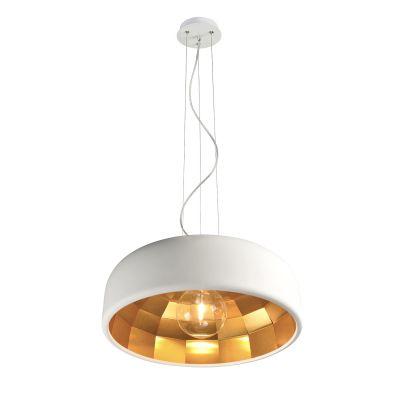 Pendente Decorativo Club Metal Branco Dourado 15x50cm Bella Iluminação 1 E27 Bivolt OD001BD Balcões e Cozinhas