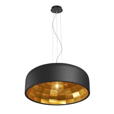 Pendente Decorativo Club Metal Preto Dourado 15x50cm Bella Iluminação 1 E27 Bivolt OD001PD Entradas e Cozinhas
