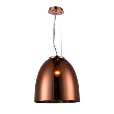 Pendente Oval Song Vertical Metal Vidro Cobre 34x30cm Bella Iluminação 1 E27 Bivolt OD019B Entradas e Corredores
