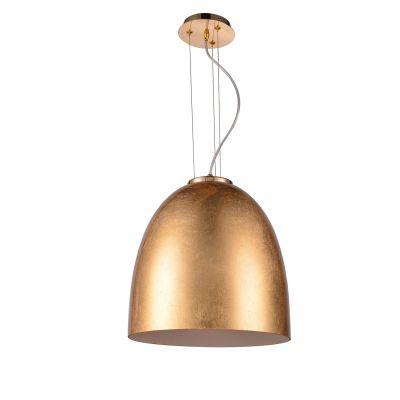 Pendente Oval Song Vertical Metal Vidro Dourado 34x30cm Bella Iluminação 1 E27 Bivolt OD019D Entradas e Corredores