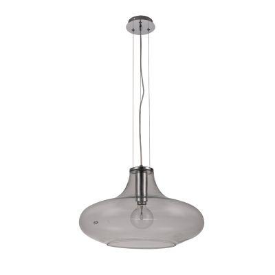 Pendente Pote Metal Cromado Vidro Transparente 30x50cm Bella Iluminação 1 E27 Bivolt OD028C Balcões e Entradas