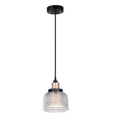 Pendente Vertical Grid Metal Vidro Transparente 11,5x14,5cm Bella Iluminação 1 E27 Bivolt OP045B Entradas e Mesas