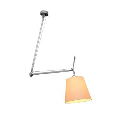 Luminária Articulada Fuocco Alumínio Tecido Bege 90x67cm Bella Iluminação 1 E27 Bivolt OP8617 Salas e Escritórios