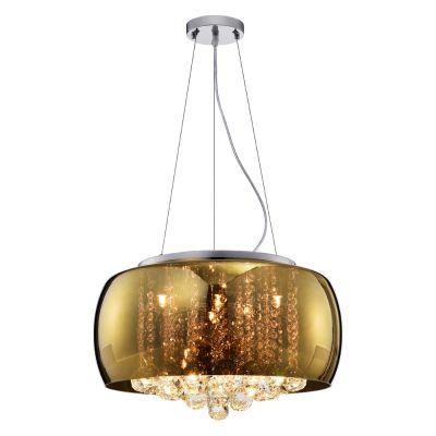 Pendente Plafon Soho Vidro Dourado Cristal 28x50cm Bella Iluminação 6 G9 Halopin 40W Bivolt PD001G Salas e Entradas