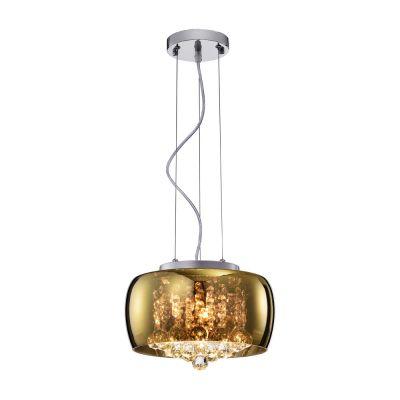 Pendente Plafon Soho Vidro Dourado Cristal 18,5x28cm Bella Iluminação 3 G9 Halopin 40W Bivolt PD005G Salas e Quartos