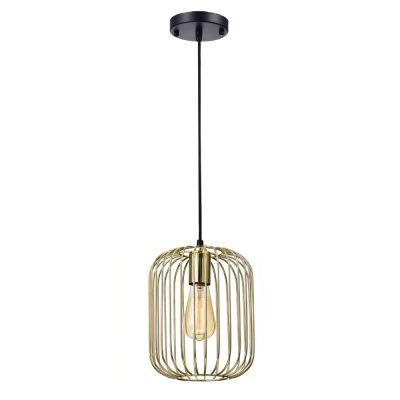 Pendente Aramado Fill Vertical Metal Dourado 25,5x20cm Bella Iluminação 1 E27 40W PD013B Corredores e Cozinhas
