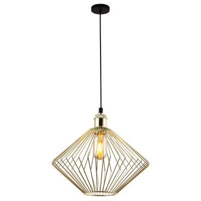 Pendente Aramado Nest Vertical Metal Dourado 26x30cm Bella Iluminação 1 E27 40W Bivolt PD014B Salas e Entradas