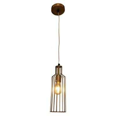 Pendente Aramado Suria Tubular Metal Ouro Velho 36x12cm Bella Iluminação 1 E27 Bivolt PEI0011BO Quartos e Salas
