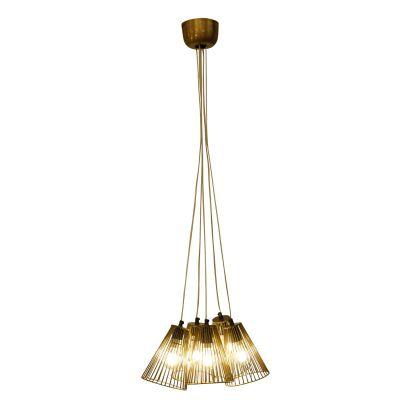 Pendente Aramado Suria 5 Tubos Metal Ouro Velho 20x15cm Bella Iluminação 5 E27 Bivolt PEI0013BO Salas e Balcões