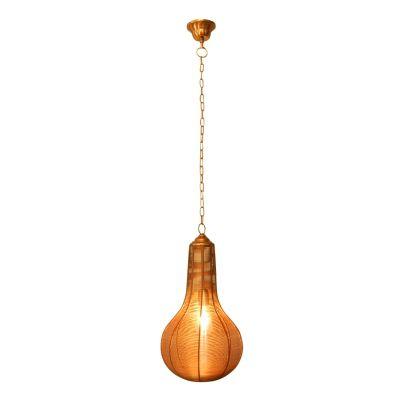 Pendente Ravi Vertical Metal Cobre Decorativo 48x27cm Bella Iluminação 1 E27 Bivolt PEI0019CO Balcões e Mesas