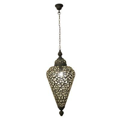 Pendente Vertical Indira Metal Decorativo Cinza 48x28cm Bella Iluminação 1 E27 Bivolt PEI0023PCI Salas e Quartos