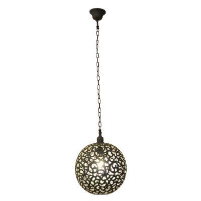 Pendente Esfera Indira Metal Cinza Decorativo 35x20cm Bella Iluminação 1 E27 Bivolt PEI0024PCI Salas e Entradas